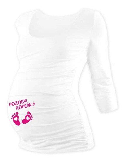 c9ce390a2d4a Tehotenské tričko s vtipnou potlačou 3 4 rukáv biele - Tehotenské ...
