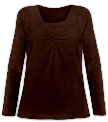 Tričko na dojčenie Klaudia dl.rukáv hnedé