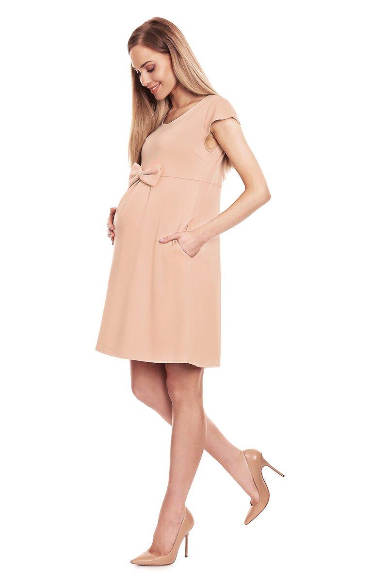 3939a040af Béžové tehotenské šaty s mašľou (0129) - Tehotenské oblečenie ...