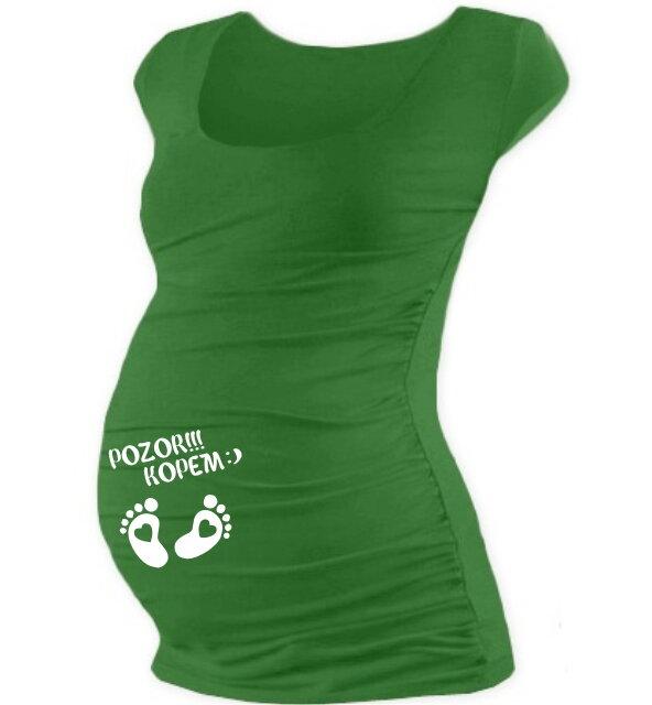 3d07a8007b00 Tehotenské tričko s potlačou mini rukáv tm.zelené - Tehotenské ...
